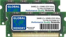 64 Mo (2 x 32 Mo) 60 ns 72-PIN EDO SODIMM Mémoire Ram Kit Pour Ordinateurs Portables