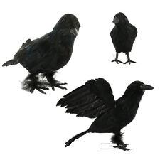 1Pc Black Lifesize Raven Movie Prop Fake Crow Halloween Bird Hunting Decor aa
