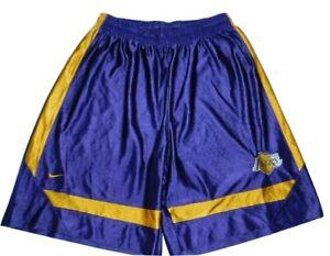 VTG 90's NIKE TEAM LA LAKERS NBA Basketball Shorts Purple Gold Embroidered sz L