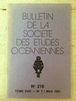 Bulletin de la Société des Etudes Océaniennes * N° 218 / Mars 1982