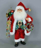 CHRISTMAS DECORATIONS - DECK THE HALLS SANTA WITH COLORFUL WREATH & GARLAND