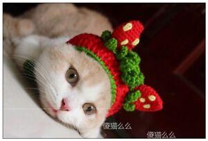 Pet Cat Strawberry Sweet fruit Woolen Kitten Cap Knitted Cosplay Hat For photo