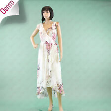 Stunning GERI by Next Ivory Floral Print Chiffon Cocktail Maxi Wrap Dress 8 Tall