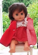"""Vintage MADE IN England doll with Red polka dot Dress and Coat. 15"""""""