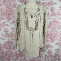 JOSEPH A. Top Crinkle Boho Tassel Blouse Size Small S Beige Long Sleeve Lattice