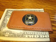 """Deluxe Faux Leather Magnetic Money Clip U.S.Army """" Star """" 1"""" Dome Buchanan'S"""