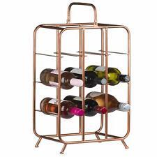 9 Bottle Large Free Standing Metal Copper Vintage Storage Cabinet Wine Rack UK