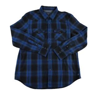 American Eagle mens snap button up shirt long sleeve vintage fit sz plaid blue