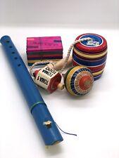 Traditional Mexican Toys Pack Trompo Toma Todo Balero Tablitas Flauta