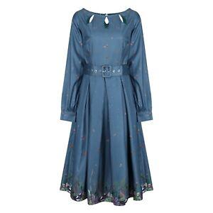 Lindy Bop 'Laurel' Teal Magpie Border Print Vintage Midi Shirt Dress BNWT