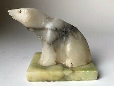 Vintage Carved Stone Polar Bear Sculpture Figurine Made in Italy