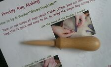 *PRODDY Tool & Instruction* Vintage  Style Wood Tool-  RUG MAKING- EASY GRIP