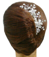 Bridal Flower Comb Silvery White Trim Bedecked with White Crystals U863015-0059.
