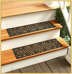 RUBBER STAIR STEP TREADS MATS LATTICE DESIGN OUTDOOR PORCH TRACTION ~ CHOICES
