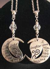 Mother and daughter necklace heart moon love handmade set of two
