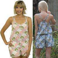 Womens Fitted Playsuit NEW Summer Print Size 10 12 14 16 Strappy Back