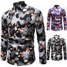 Luxury Men's Hawaii Floral Tops Slim Fit Casual Shirt Long Sleeve Dress Shirts