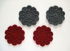Hand-Crocheted Mini Doily Coasters, Charcoal Gray, Carmine Red, Set of 4, New!