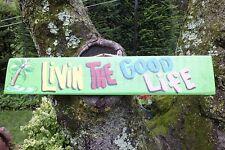 LIVIN THE GOOD LIFE - PARROTHEAD POOL BOAT TIKI HUT BAR TROPICAL SIGN PLAQUE