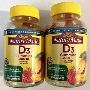Nature Made Vitamin D3 2000 IU 50 mcg Gummies 150 Count Bone Health 2 Bottles