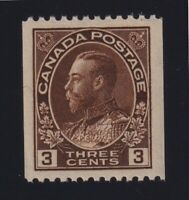 Canada Sc #134 (1921) 3c brown Admiral Perf 12 COIL Single Mint VF NH