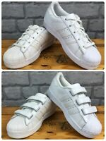 ADIDAS SUPERSTAR CHILDRENS WHITE ORIGINALS LEATHER SHELLTOE TRAINERS