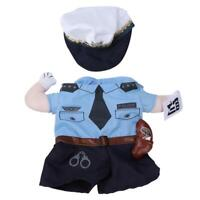 Pet Policeman Costume Dog Outfit Apparel Clothes Halloween Christmas Theme