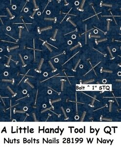 A Little Handy Tool cotton Quilt fabric by QT Nuts Bolts & Nails 28199 W Blue