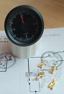 VDO Quarz Uhr 12V 52mm Zeituhr Electric Clock Instrument Cockpit Intern. Classic