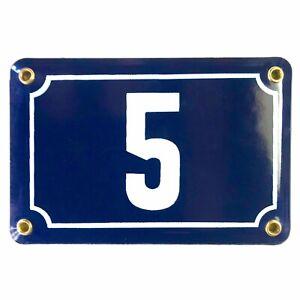 Ancien numéro de rue, Maison plaque émaillée, Bombée Bleu Nuit N°5