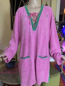 Lilly Pulitzer pink Terry cloth tunic swim Beach cover up dress Lace Up Sz XL