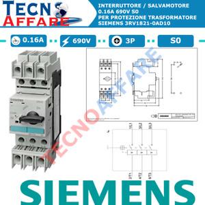 Salvamotore Protezione Trasformatore 0.16A 690V 3Poli Siemens 3RV1821-0AD10