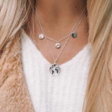 2Layer Earth World Map Fashion Charm Women Silver Chain Pendant Choker Necklaces