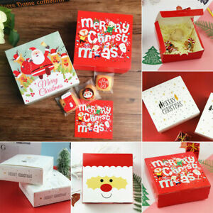 10X Christmas Party Favour Gift Paper Boxes Sweet Xmas Biscuit Candy Treat Bags