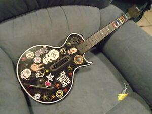 Xbox 360 Guitar Hero Wireless Black Gibson Red Octane Guitar Controller