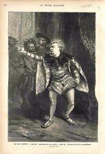 Le roi s'amuse de Victor Hugo Antichambre Roi  au Louvre Triboulet GRAVURE 1882