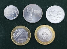 RUSSIA RUSSIAN FEDERATION LOT 5 COINS COLLECTION 1 5 10 25 RUBLE SOCCER BIMETAL
