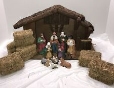 Vintage Nativity Set With Real Wood Creche Stable Hay Bails 17 Pieces