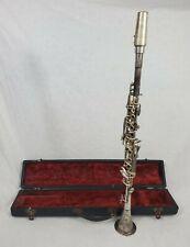 Vtg 1930's Cavalier Clarinet Elkhart IND Serial 22785 Metal Silver Finish w Case