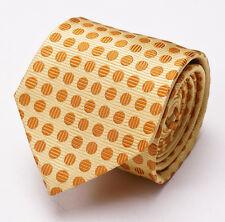 New $145 PAUL SMITH Silk Tie Yellow-Golden Orange Woven Circle Pattern Italy