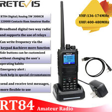 Walkie Talkies Retevis RT84 DMR Handheld Ham Radio UHF+VHF VOX 2000mAh Alarm