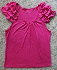 NEW GRACE Women pink sleeveless top with frilled shoulders 100% Cotton SIZE XL