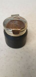 VINTAGE LEATHER CASED INKWELL FEATURING A PENNY COIN