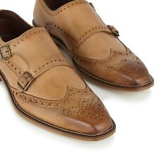 London Brogues Leonard Tan Leather Formal Monk Shoes *Size 10