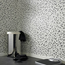 Contour Checkered Tile Effect Kitchen Bathroom Black White & Silver Wallpaper