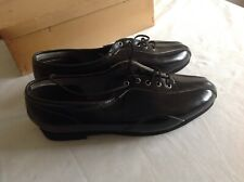 BLACK LEATHER UPPER VINTAGE CYCLING SHOES SIZE 38 EUR - NOS HANDMADE - AIRLITE