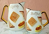 Butter and Syrup Pitchers Retro Japan Pancakes Vintage Original Arnart Creation