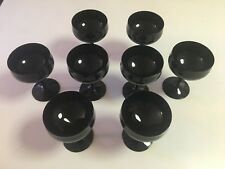 "ALL BLACK TULIP PATTERN - WINE GLASS - CHAMPAGNE GLASSES - 5-3/8"" TALL - 8 TOTAL"
