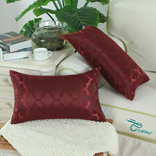 Set of 2 Cushions Covers Pillows Case Cover Quatrefoil Geometric 30x50 Burgundy