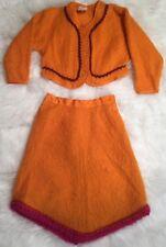 Oilily WOOL sweater cardigan skirt  long sleeve Orange top EUC 104 US 4
